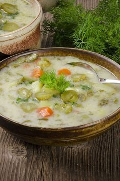 Polish Dill Pickle Soup / Recipe for Polish dill pickle soup or zupa ogórkowa (ZOO-pah aw-goorr-KAWV-ah). It is a traditional Polish soup, made from dill pickles, pickle juice and potatoes. Potato Recipes, Soup Recipes, Vegetarian Recipes, Cooking Recipes, Polish Dill Pickle Soup Recipe, Soup And Salad, Soups And Stews, The Best, Favorite Recipes