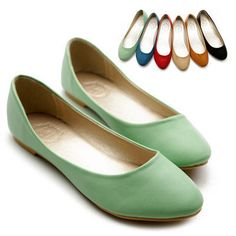 NEW Womens Shoes Ballet Flats Loafers Basic Light Low Heels Cute Multi Colored  (Mint, blue, red, black, any color really!) size 7 -  $14.99