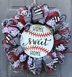 Baseball Wreath, Baseball Decor, Baseball Wreath for Front Door, Summer Wreath, Home Sweet Home Wrea Baseball Wreaths, Sports Wreaths, Baseball Crafts, Baseball Quotes, Baseball Hat, Baseball Field, Front Door Decor, Wreaths For Front Door, Door Wreaths