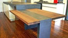 concrete bench top with timber