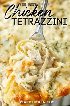 Chicken Tetrazzini – super delicious make-ahead casserole! Makes a great freezer meal! Chicken, linguine, cream of chic Turkey Recipes, New Recipes, Chicken Recipes, Cooking Recipes, Favorite Recipes, Meals With Chicken, Chicken Spaghetti Recipes, Recipe Chicken, Cooking Food