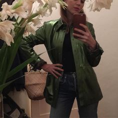 Sunday night fever. Only you could get me to wear green metallic leather @maryam_nassir_zadeh #babysitter #mammasgoingOUT