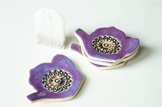 Tea Bag Rest Teapot Tea Bag Holder Set of Four Ceramics by bemika