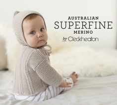 hand knitted boat neck sweater and bonnet, Australian Superfine Merino by Cleckheaton