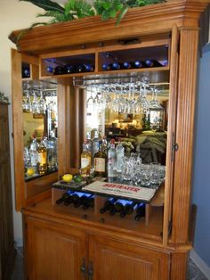 Yes so doing this. Armoire Bar, Armoire Redo, Armoire Makeover, Furniture Makeover, Drinks Cabinet, Liquor Cabinet, Cool Tv Stands, Wine Cabinets, Diy Bar