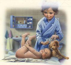 Martine change le bébé