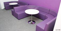 Purple vinyl modular cubes U shape booth seat