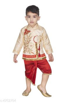 Kurta Sets Doodle Ethnic Silk Kid's Boy's Kurta Sets  *Fabric* Kurta - Silk , Dhoti - Silk  * Sleeves* Full Sleeves Are Included  *Size* Age Group (0 - 1 Year) - 16 in Age Group (1 - 2 Years) - 18 in Age Group (2 - 3 Years) - 20 in Age Group (3 - 4 Years) - 22 in  *Type* Stitched  *Description* It Has 1 Piece Of Kid's Boy's Kurta & 1 Piece Of Kid's Boy's Dhoti  *Work* Kurta - Embroidered , Dhoti - Border Work  *Color* Kurta - Cream  , Dhoti - Red  *Sizes Available* 2-3 Years, 3-4 Years, 0-6 Months, 6-12 Months, 12-18 Months, 18-24 Months, 0-1 Years, 1-2 Years *   Catalog Rating: ★3.9 (482)  Catalog Name: Doodle Ethnic Silk Kid's Boy's Kurta Sets Vol 1 CatalogID_691808 C58-SC1170 Code: 102-4752784-