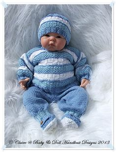 Striped Textured Sweater Set inch doll/new baby-babydoll handnknit designs, knitting sample, child, reborn Baby Boy Knitting Patterns, Baby Sweater Patterns, Baby Cardigan Knitting Pattern, Baby Patterns, Knitted Baby Outfits, Knitted Baby Clothes, Baby Doll Clothes, Baby Dolls, Knitted Booties