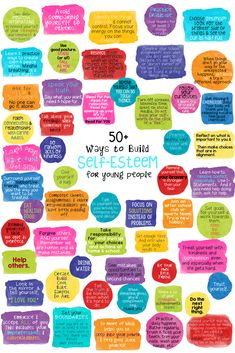 50 Ways to Build Self-Esteem for Children and Teens Poster, Lesson, and fortune teller activity.
