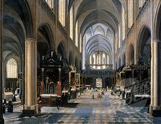 Interior of Gothic Cathedral by Peeter Neeffs Younger, painting, (1620-1675)