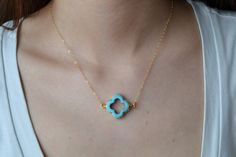 Turquoise Quatrefoil Clover Necklace, 24K Gold Edged, Modern, 14K Gold Fill Chain, Feminine, Eye Catching, Everyday Wear Jewelry. $32.00, via Etsy.