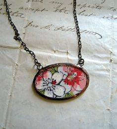vintage hanky.  necklace.  #etsy, #thatoldbluehouse2
