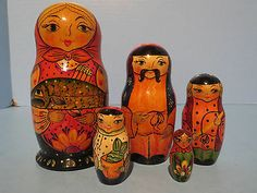 "Vintage Russian Nesting Dolls ""Typical Ukraine Family"" Early Artist Doll 91' 