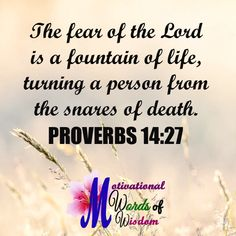 PROVERBS 14:27  The fear of the LORD is a fountain of life, turning a person from the snares of death.