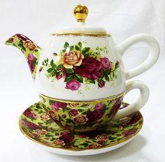 Royal Albert Old Country Roses Tea For One Set Tea Pot Cup Saucer Bone China #RoyalAlbert