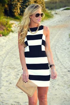 Black and White dress goes great with gold shoes