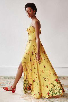Dress: summer dress, button up, floral, maxi dress, yellow dress - Wheretoget