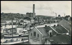 """Telemark fylke Skie med kanalbåter """"Inland"""" og """"Nordsjø"""" og industriområde Utg J.A.Kroghs boghandel, brukt 1929"""