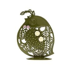Green filigree quail.  Appears to be for earrings; could also see in a kitchen.