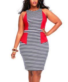 Love this Red & Black Stripe Yacht Dress - Plus on #zulily! #zulilyfinds