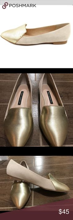 French Connection Flats French Connection gold flats. I'm reposting since they didn't fit. Just want to get my money back. The person I bought them from said she wore them once, I've never worn them. They're in great condition. French Connection Shoes Flats & Loafers