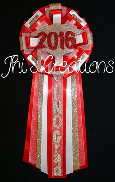 SUNO Graduation pin/mum/corsage in red, white, and champagne #JhisCreations