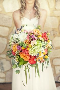 So many different flowers make up this bouquet: http://www.stylemepretty.com/australia-weddings/2014/09/24/diy-wedding-at-coriole-vineyard/   Photography: Lux - https://www.facebook.com/lux.weddings