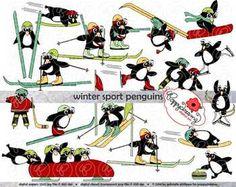 Winter Sport Penguins Clipart by Poppydreamz