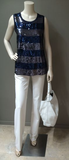 "MaxMara Sportmax Code sleeveless sequin-knit blouse in navy and pewter stripe available in black and pewter stripe as well | MaxMara Studio label creamy white cotton blend pants | MaxMara ""Amadeus"" white cattle leather shoulder bag 