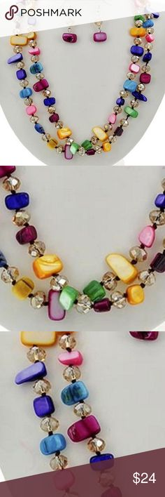 """Two Layers Multi color Shel Necklace Earring Two Layers Multi color Shell Bead/ Faceted Glass Bead / Silver Tone Link/ Silver Tone finish / Lead Free/ Necklace With Matching Earring/17"""" Long With A 3"""" Extension . Jewelry Necklaces"""
