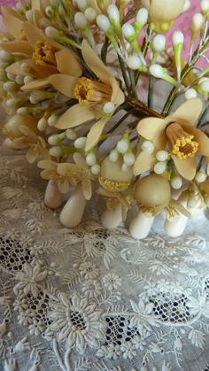 Superb antique French bride's wax orange blossom wedding crown & finery
