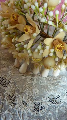 Antique French bride's wax orange blossom wedding crown & finery