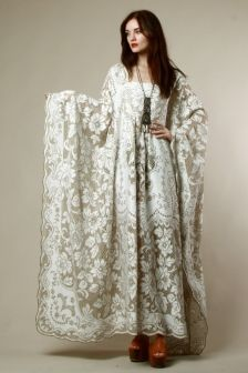 Vintage lace peony caftan. Sheer lace. Getting married and looking for the perfect dress?