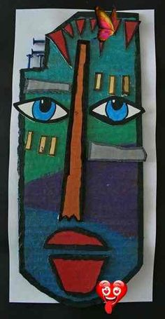 Artsonia Art Museum :: Artwork by Ashlee501, -  Artsonia Art Museum :: Artwork by Ashlee501,  - #Art #artsonia #artwork #ashlee501 #Cinematography #Egypt #Filmmaking #museum #Museums<br> Cardboard Mask, Cardboard Crafts, Portraits Cubistes, Kimmy Cantrell, Tableau Pop Art, Art Africain, Masks Art, Middle School Art, Art Moderne