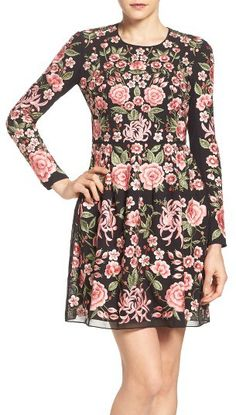 Women's Needle & Thread Embroidered Fit & Flare Dress