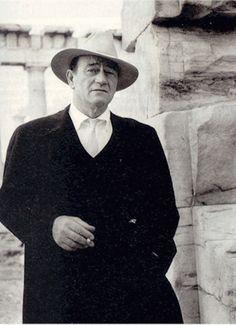 John Wayne kept his cowboy hat on when he visited Acropolis of Athens in 1966 Athens Acropolis, Athens Greece, Parthenon, John Wayne, Old Photos, Vintage Photos, Westerns, Tom Selleck, Actor John