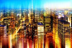 Urban Stretch Series - Skyline of Manhattan by Night - New York Photographic Print by Philippe Hugonnard at AllPosters.com