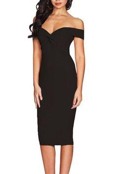 a9a83cc0804d Black Off Shoulder Twist Front Midi Party Dress MB610155-2 – ModeShe.com  Party