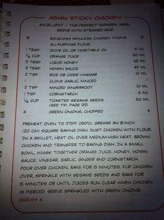 Best of Bridge Asian Sticky Chicken Old Recipes, Vintage Recipes, Turkey Recipes, Cooking Recipes, Entree Recipes, Thai Recipes, Asian Recipes, Sticky Chicken, Asian Chicken