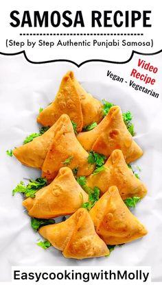 Samosa Recipe – Step by Step Punjabi Samosa - Air Fryer Samosa - Baked Samosa Indian Snacks, Indian Food Recipes, Vegan Recipes, Cooking Recipes, African Recipes, Curry Recipes, Punjabi Recipes, Kitchen Recipes, Cooking Tips