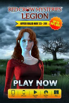Red Crow Mysteries: Legion SALE! If you could choose, what superpower would you have? Save up to 80% with our weekly SALE on Red Crow Mysteries: Legion. Starting today through May 29th, snag this heart-pounding adventure for as low as 99¢ on iPhone, iPad, Google Play, Amazon Appstore and Mac. Experience the ability to see other worlds and help good win over evil! Learn more: http://www.g5e.com/sale