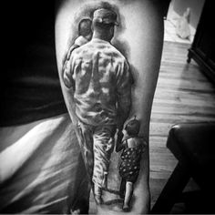 3D Father And Kids Family Tattoo On Forearms