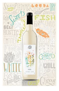 WINE PLEASE- 1 of set of 3 white, rose, red- drink up Wine Typography Poster by Lauren Owen, via Behance