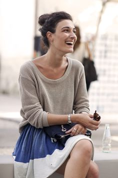 what a lovely juxtaposition--chunky fisherman sweater with flowy skirt