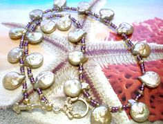 Gold Keshi Pearl Beaded Necklace by SurfSeaGlass on Etsy, $32.00
