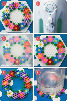 Spring coaster hama perler beads diy by Craft Melty Bead Patterns, Pearler Bead Patterns, Perler Patterns, Beading Patterns, Loom Patterns, Melty Beads Ideas, Bracelet Patterns, Embroidery Patterns, Crochet Patterns