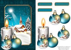 Christmas Scene Card Front 3 on Craftsuprint designed by Chris Harland - A step by step card front with Christmas scene, candle and bauble decoupage - Now available for download!