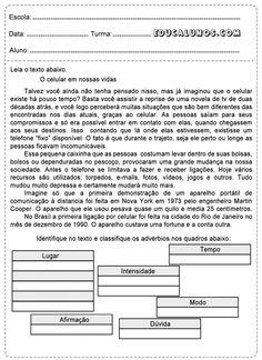 """Atividades sobre advérbios (Texto sobre """"Telefonar ontem e hoje""""/""""Celular: EUA&Brasil)"""
