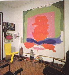 """Casa Robert Motherwell & Helen Frankenthaler  The yellow """"chair"""" sculpture is by Barbara Cohen,   Kenneth Noland,   Hans Hoffmann,"""